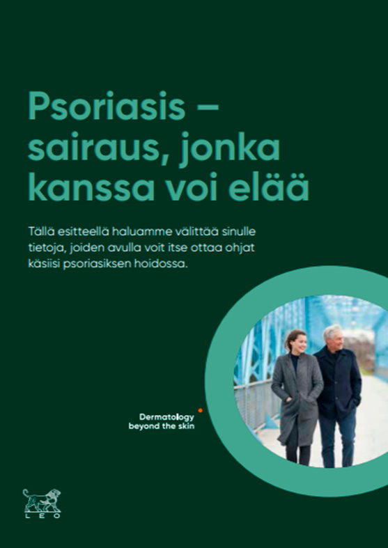 Close-up of psoriasis check list in Finnish