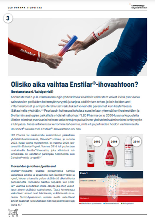 Thumbnail of article in Finnish on benefits of switching from Daivobet® gel or ointment to Enstilar®